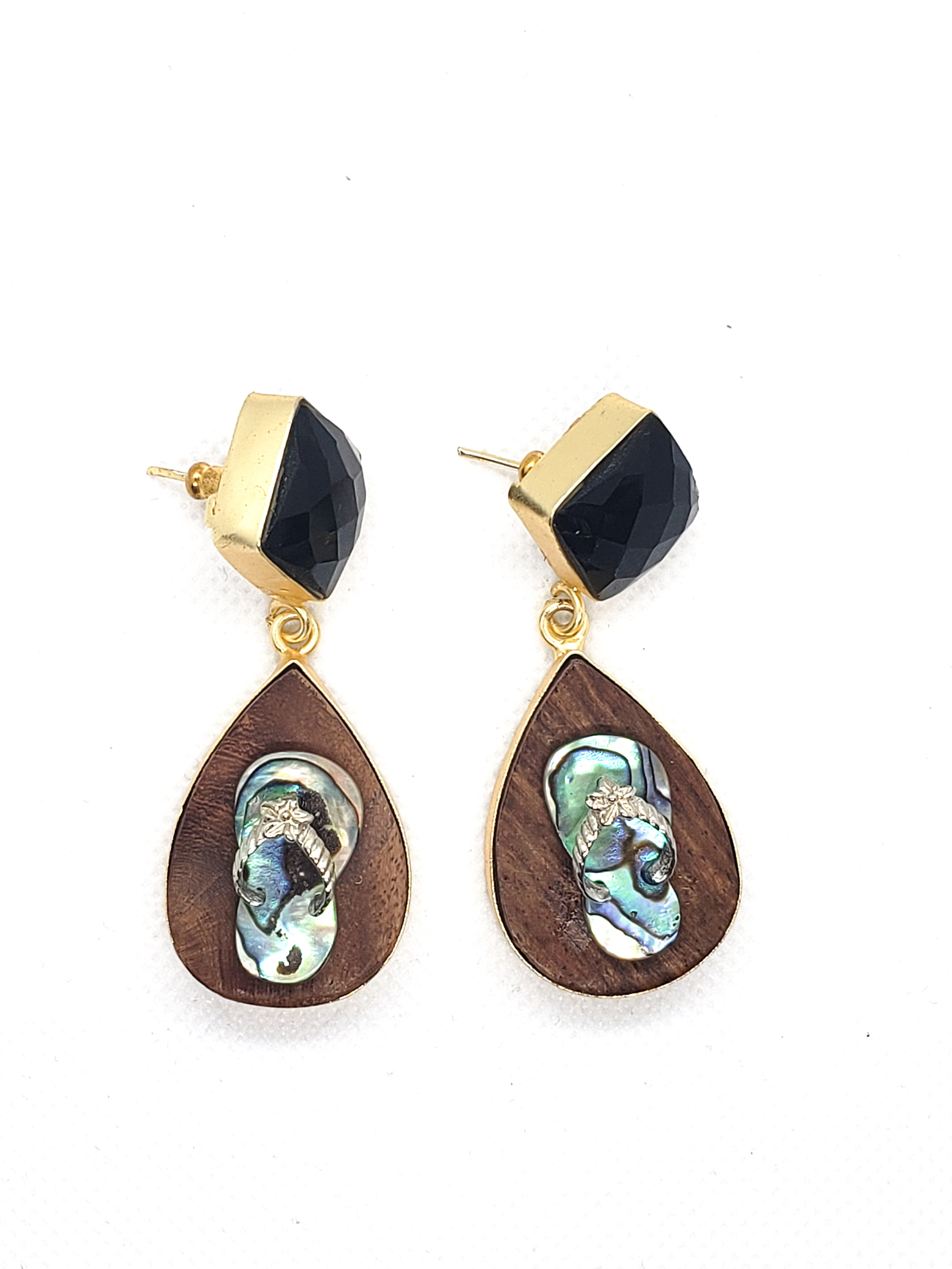Slipper Stone and Wood Drop Earrings - The Bauble Shop