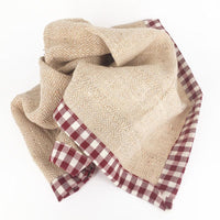 organic cotton tea towel red check