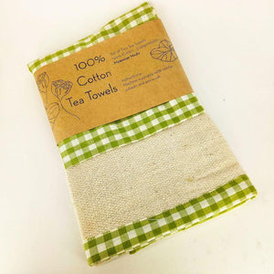 organic cotton tea towel green check