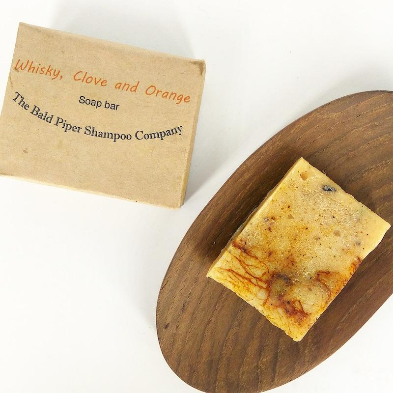 whisky clove orange soap bar Bald Piper Shampoo Company