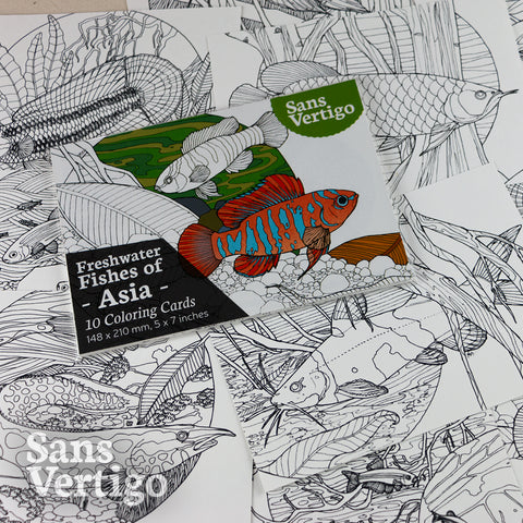 Freshwater Fish of Asia - 10 Coloring Cards