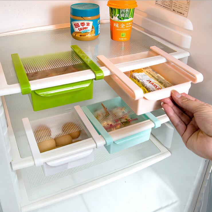Mini ABS Slide Kitchen Fridge Freezer Space Saver Organization Storage Rack Bathroom Shelf Kitchen Supplies Storage Rack