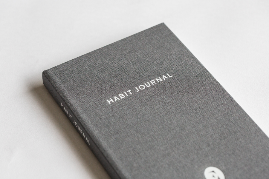 Closeup of Dark Grey Hardcover Evergreen Journals Habit Journal
