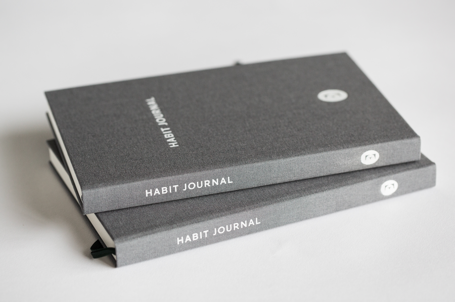 A Couple of Dark Grey Hardcover Evergreen Journals Habit Journals