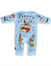 Load image into Gallery viewer, Sixbunnies baby TATTOO romper Blue