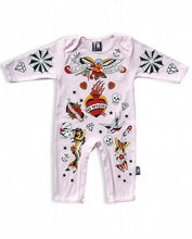 Load image into Gallery viewer, Sixbunnies baby TATTOO romper pink