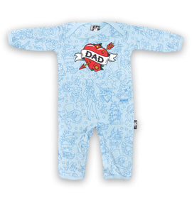Six bunnies DAD blue romper