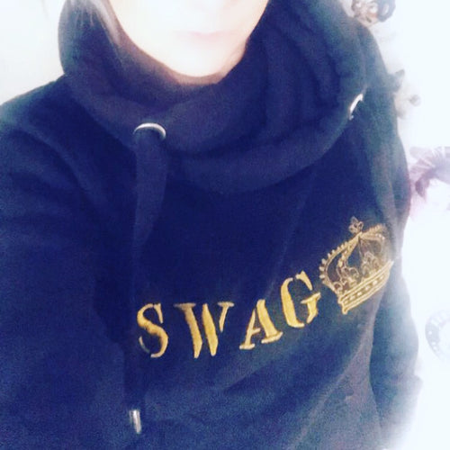 Official swag gold embroidered logo mega hoodie