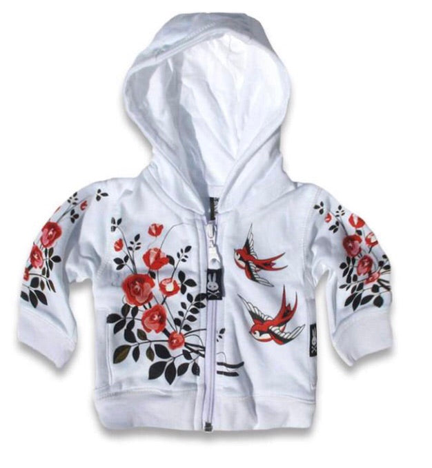 Six bunnies BIRDS AND ROSES hoodie