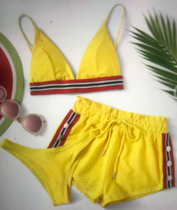 Yellow shorts and bikini set