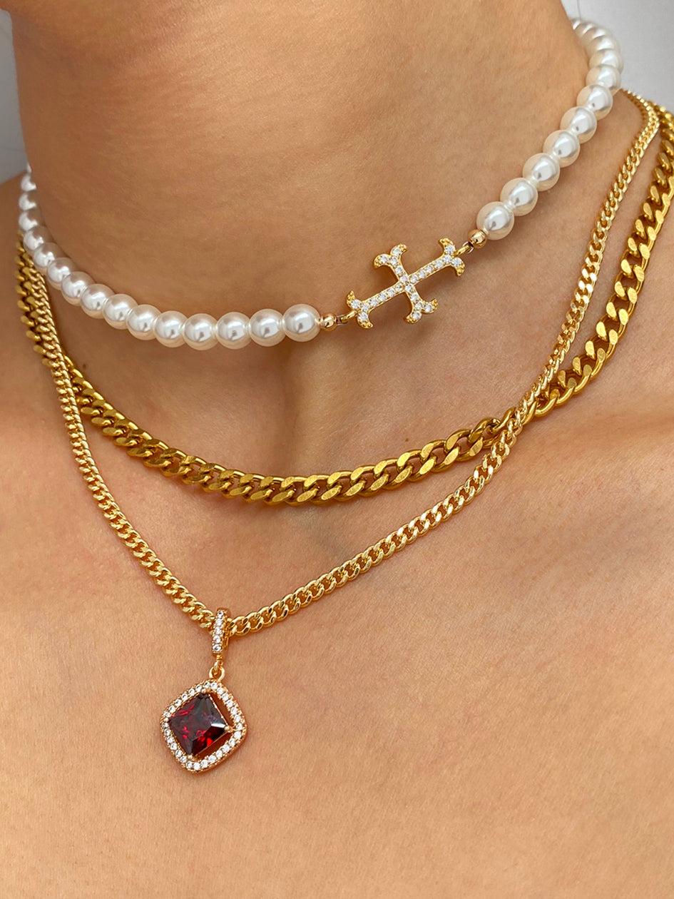 THE PEARLY ADAMAS CROSS CHOKER GOLD