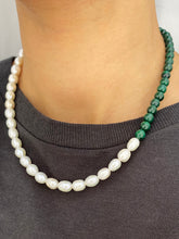 Load image into Gallery viewer, THE MALACHITE FRESHWATER PEARL NECKLACE