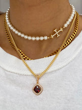 Load image into Gallery viewer, THE PEARLY ADAMAS CROSS CHOKER GOLD