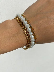 THE PEARLY CHAIN BRACELET SET GOLD