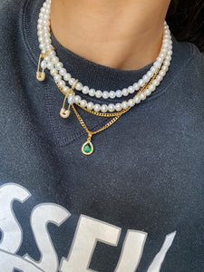 DBL PIN THROUGH MY PEARL FRESHWATER PEARL CHOKER GOLD
