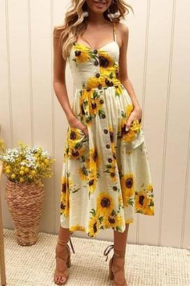 Sunflower Boho Sundress