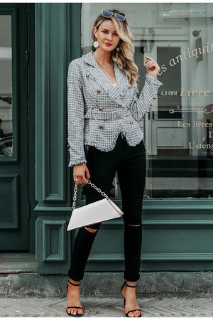 Plaid Tassel Blazer