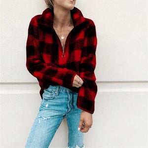 Plaid Zip Front Sweatshirt