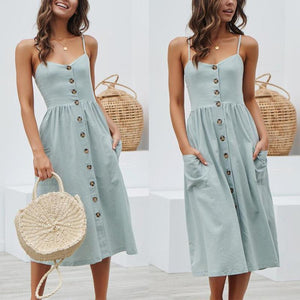 Pretty Buttoned Midi Dress