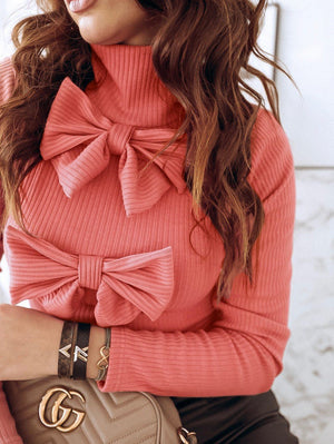 Bow High Neck Sweater