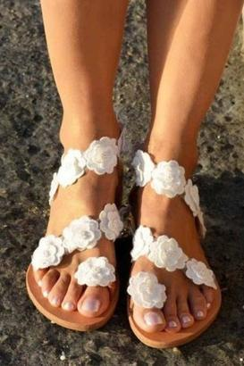 Flower Flat Bottom Sandals