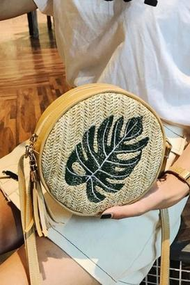 Leaves Rattan Beach Bag