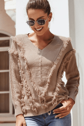 Fringed Knitted Sweater