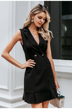 Pleated Office Mini Dress