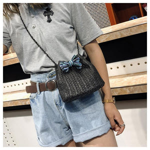 Rattan Bucket Shoulder Bag