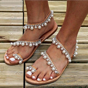 Boho Pearl Crystal Sandals