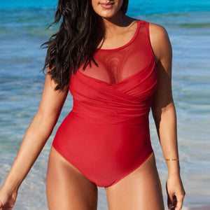 Ruched Mesh One Piece