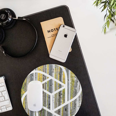 Geometric Birch Mouse pad