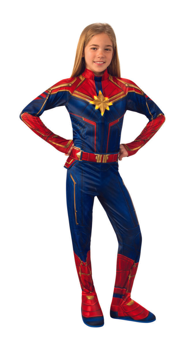 Captain Marvel Deluxe Light Up Child Costume Haryguls Halloween Planet Superstore Jumpsuit officially licensed marvel product. captain marvel deluxe light up child costume