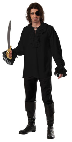 Pirate Shirt Adult Costume - Black