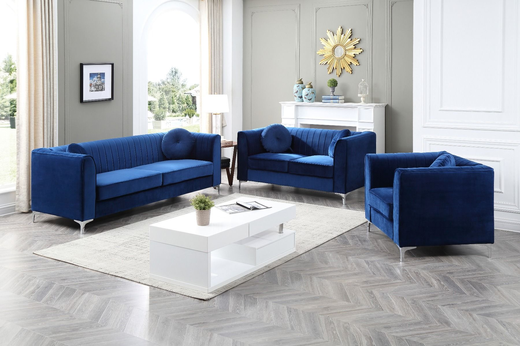 Etonnant Samanthau0027s Living Room Set (Navy Blue)