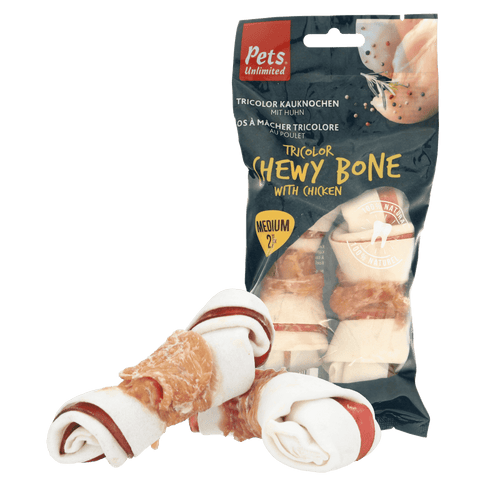 Tricolor Chewy Bones with Chicken Medium 2 pc