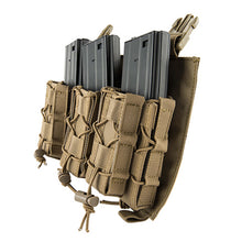 Load image into Gallery viewer, Click-in Hook & Loop Attached Pistol + Rifle Magazine Triple Pouch Placard
