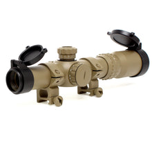 Load image into Gallery viewer, 1-4x24 Dual Color Illuminated Mil-Dot Reticle Rifle Scope