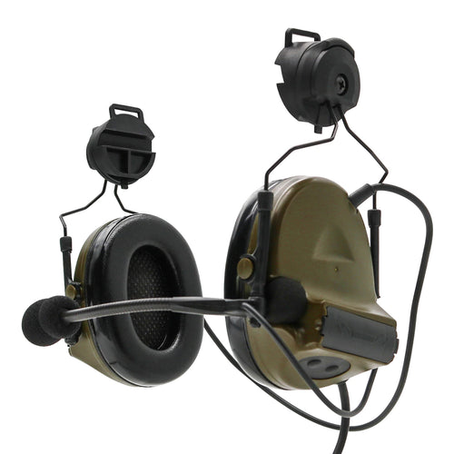 Armorwerx Closed-Ear Electronic Hearing Protection & Communication Headset with Helmet Rail Adapters