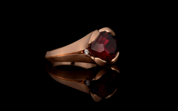 Hand carved Umbalite Garnet ring