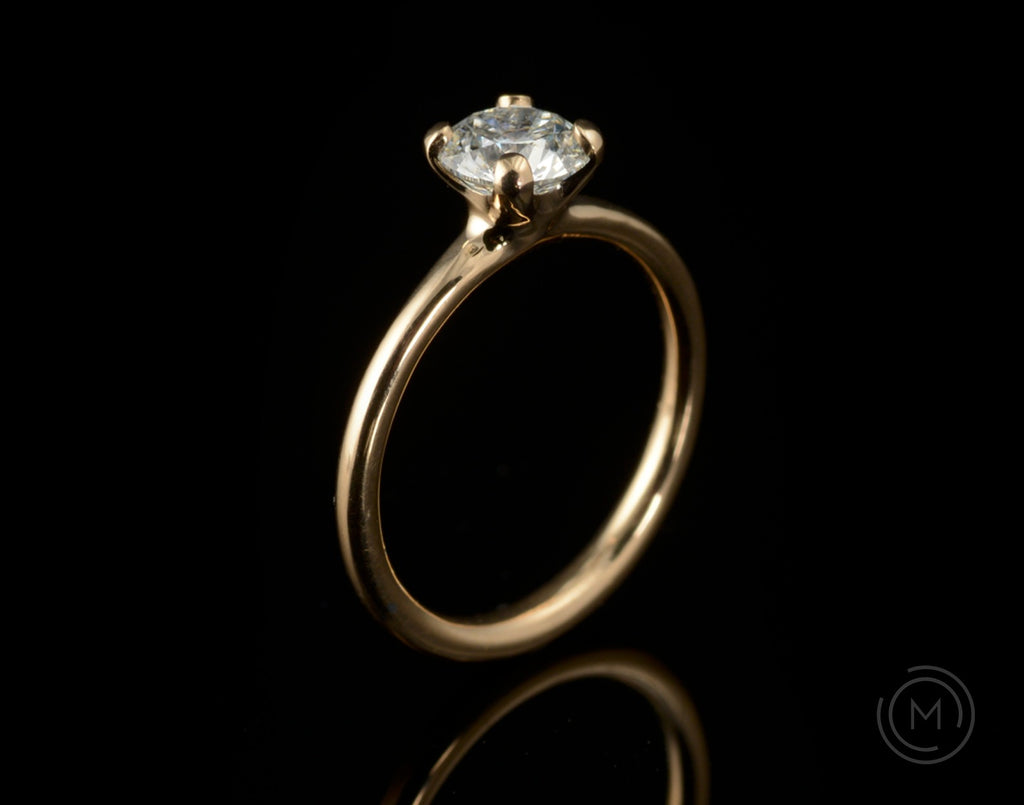 Rose gold 4-claw diamond solitaire engagement ring