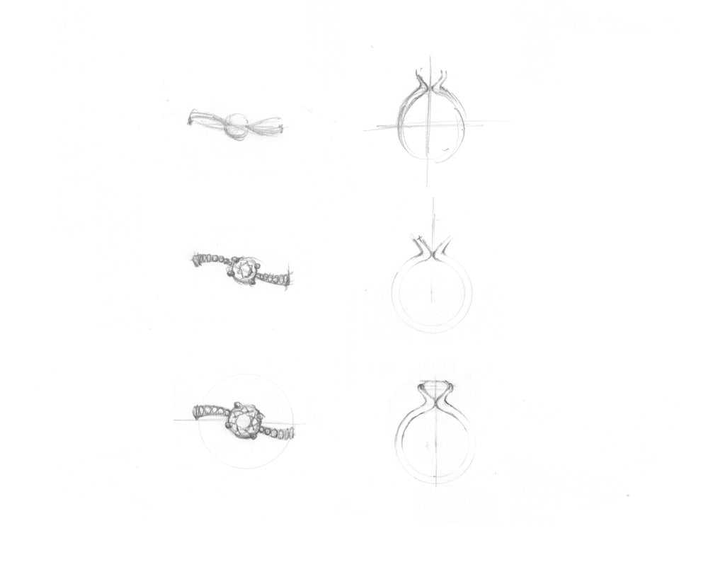 Design iterations for bespoke engagement ring.