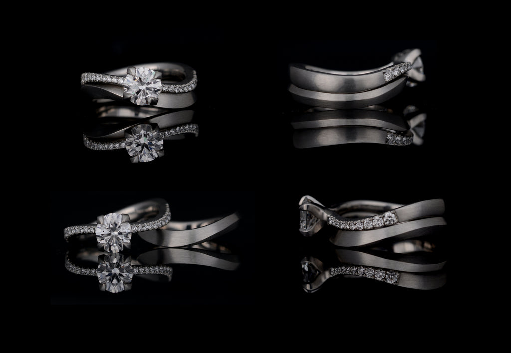 Bespoke engagement ring and matching wedding band multi angle view