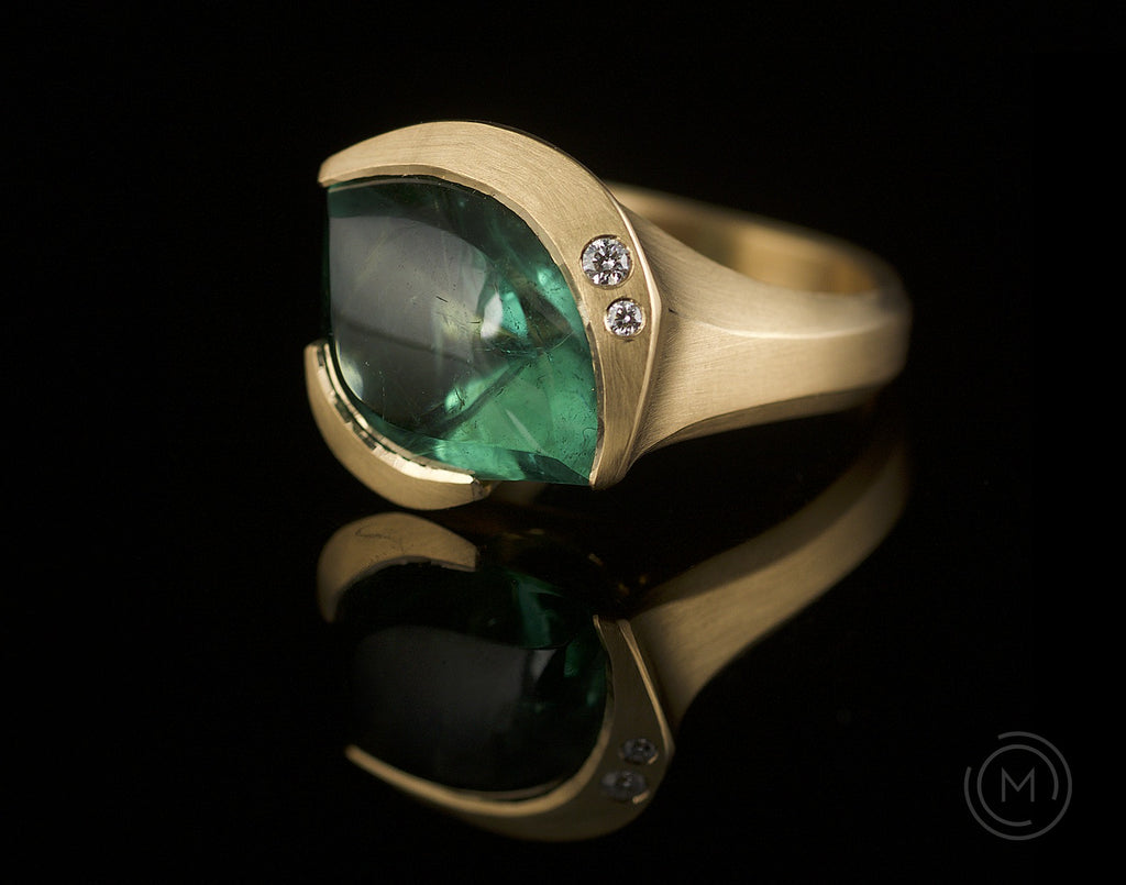 Arris hand-carved rose gold cocktail ring with tourmaline and diamonds