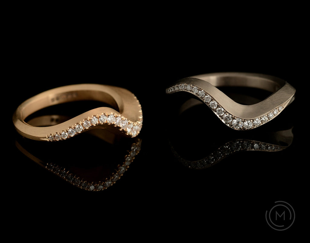 hand-carved diamond wedding bands for women