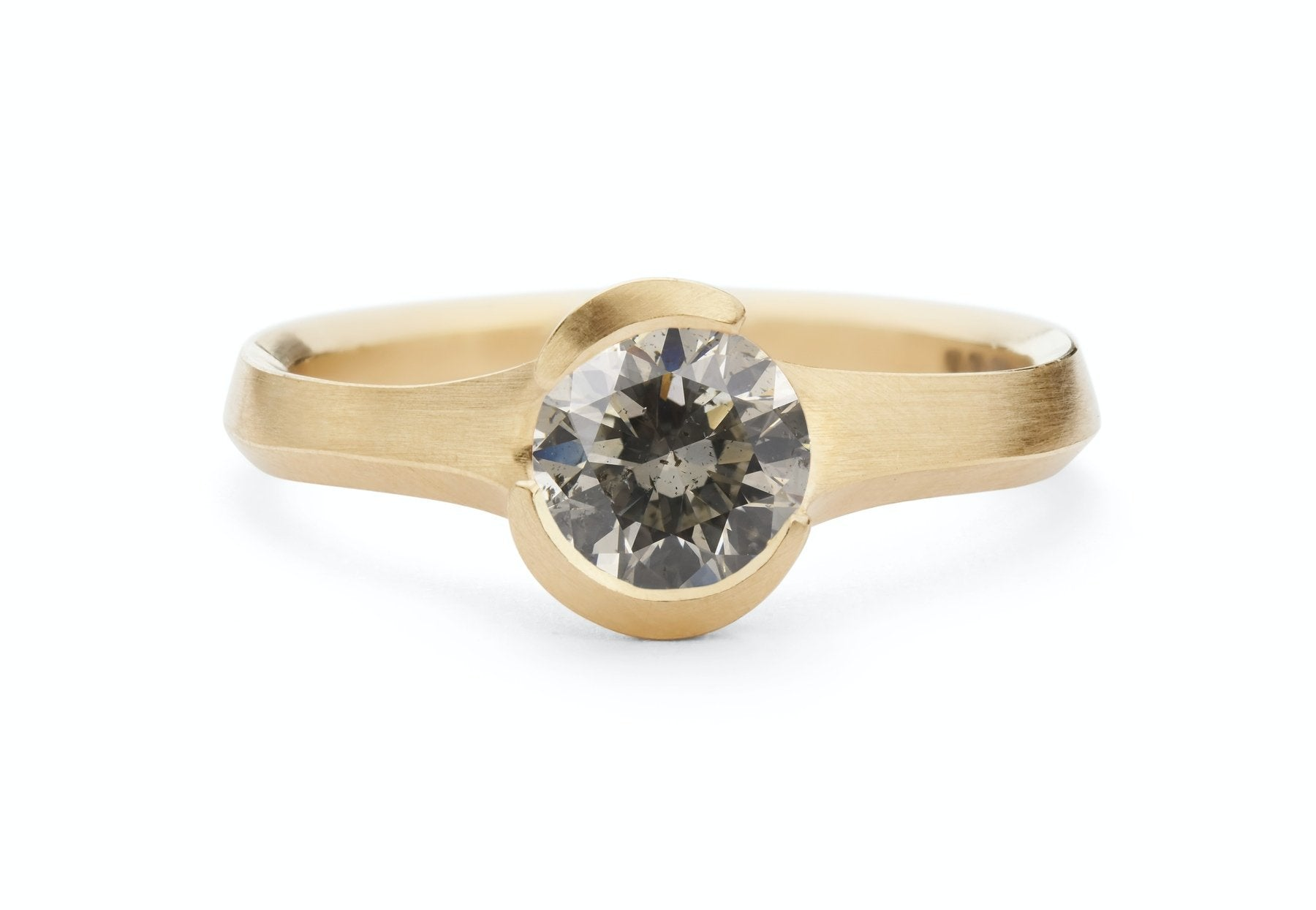Hand carved Arris engagement ring with grey diamond