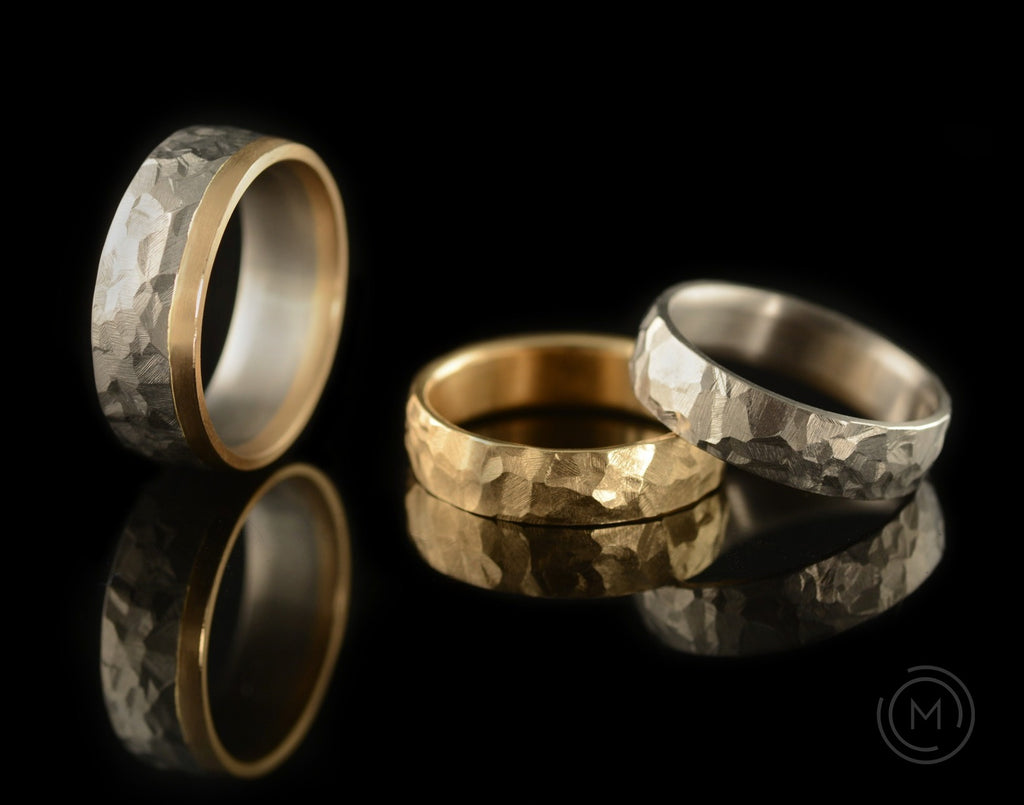 Bi-metal hammered gold and platinum wedding rings