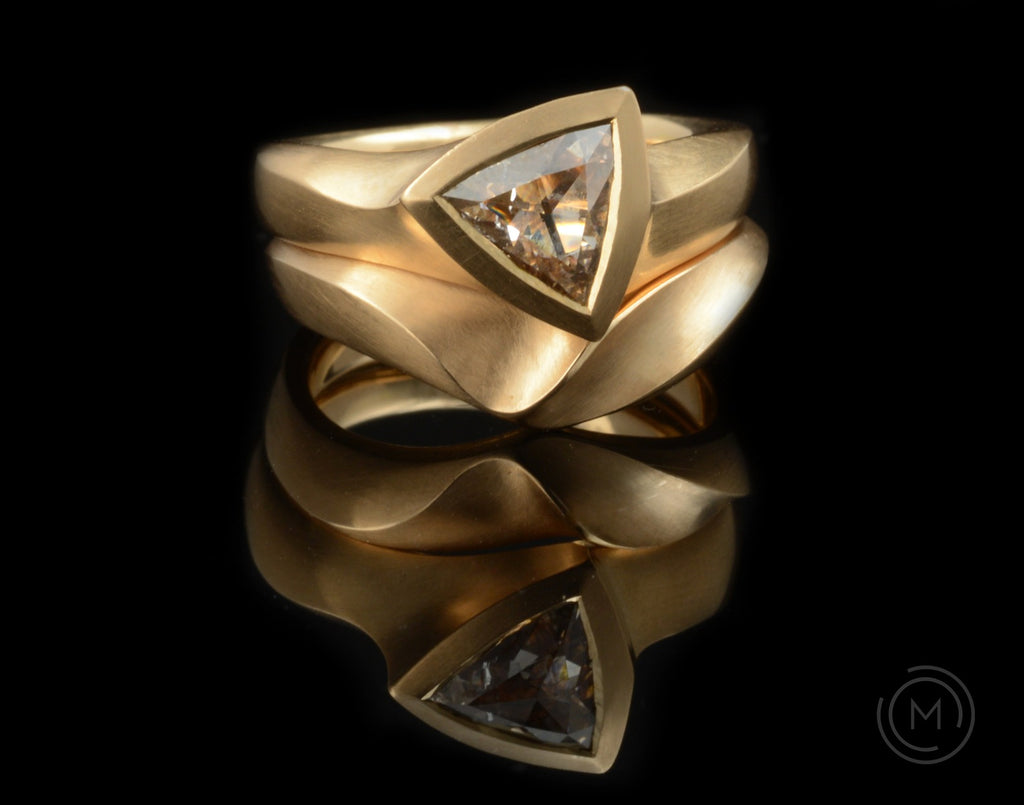 Hand-carved rose gold and cognac diamond Arris engagement and wedding ring set