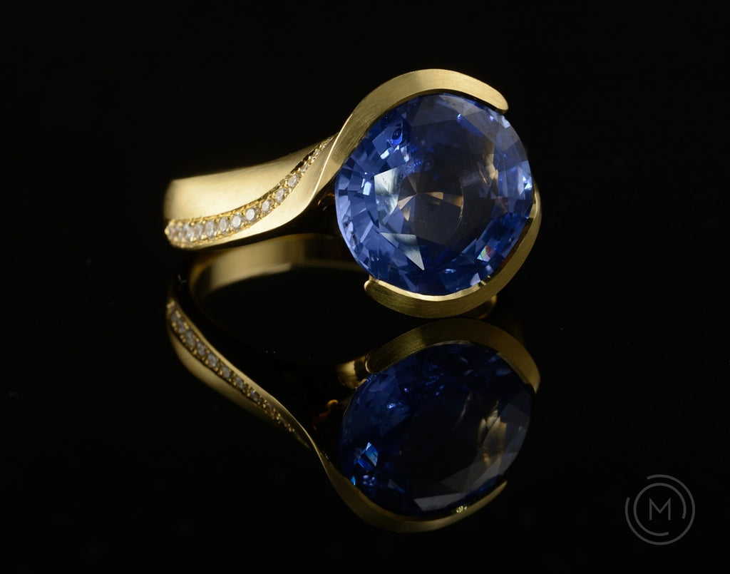 Yellow gold sapphire and diamond hand-carved Arris cocktail ring