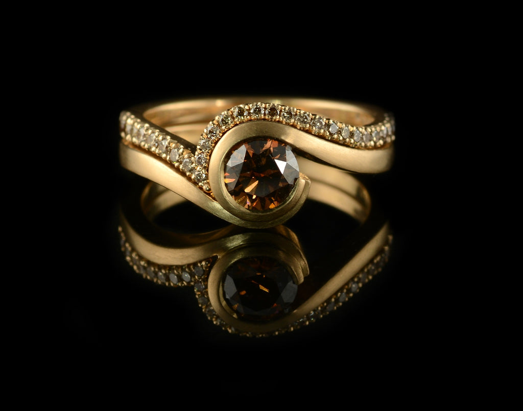Rose gold 'Wave' engagement ring with round cognac diamond